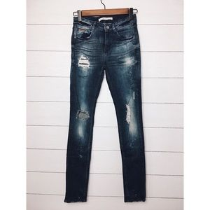 Zara | Dark Wash Distressed Skinny Jeans